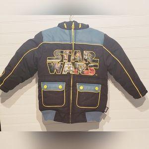 Disney Star Wars Galaxy Print Puffer Coat Size 3T